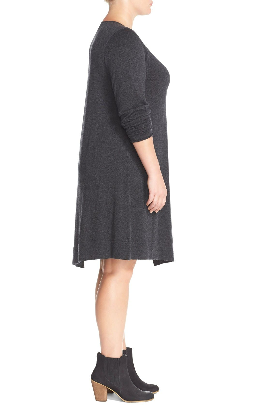 Alternate Image 3  - Eileen Fisher Merino Jersey Jewel Neck Dress (Plus Size)