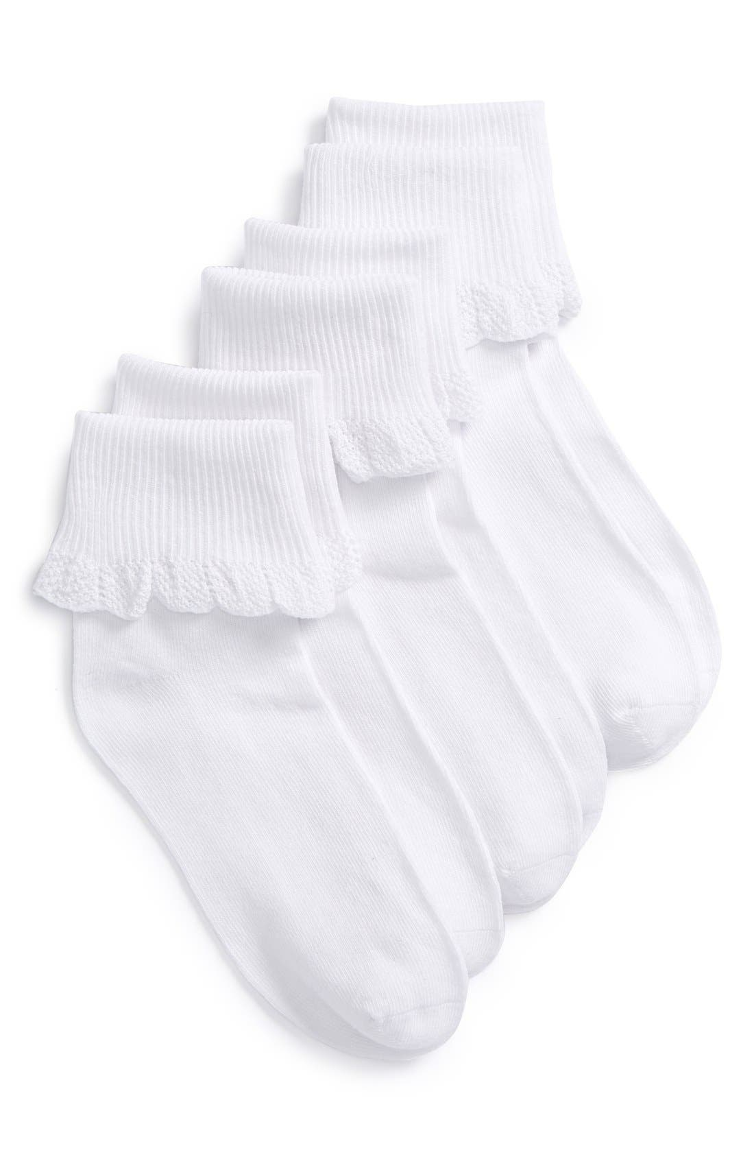 3-Pack Socks,                         Main,                         color, White