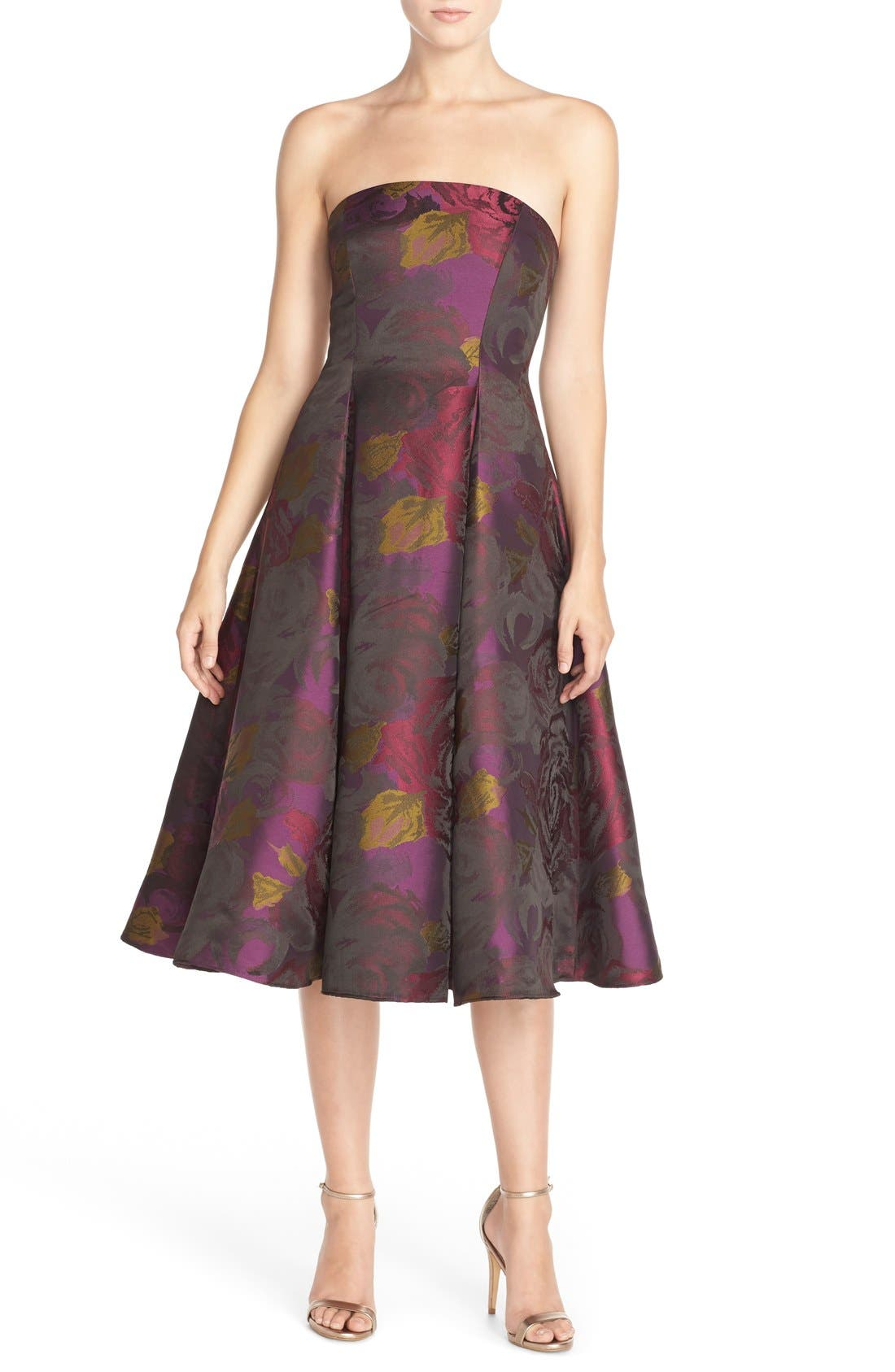 Alternate Image 1 Selected - Adrianna Papell Jacquard Tea Length Fit & Flare Dress