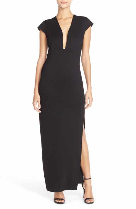 Fraiche by J Plunge Neck Jersey Maxi Dress by FRAICHE BY J