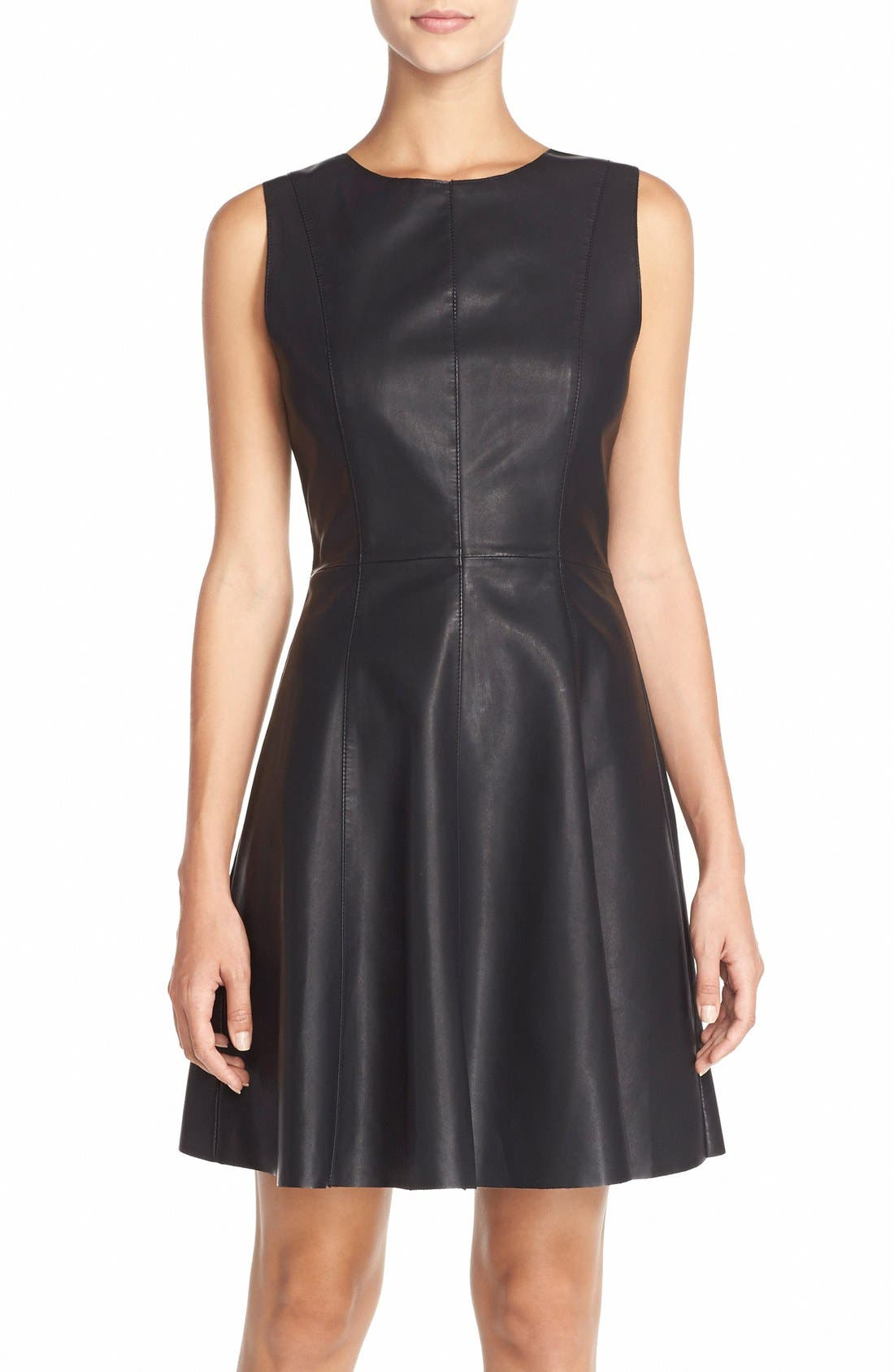 Alternate Image 1 Selected - BB Dakota Faux Leather Fit & Flare Dress