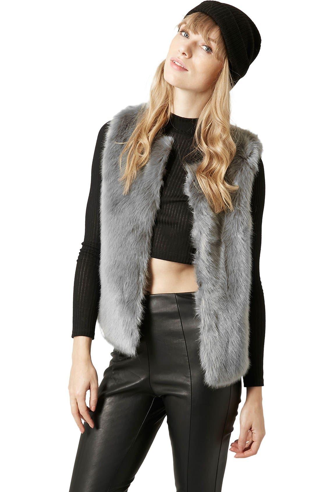Main Image - Topshop Faux Fur Gilet Vest