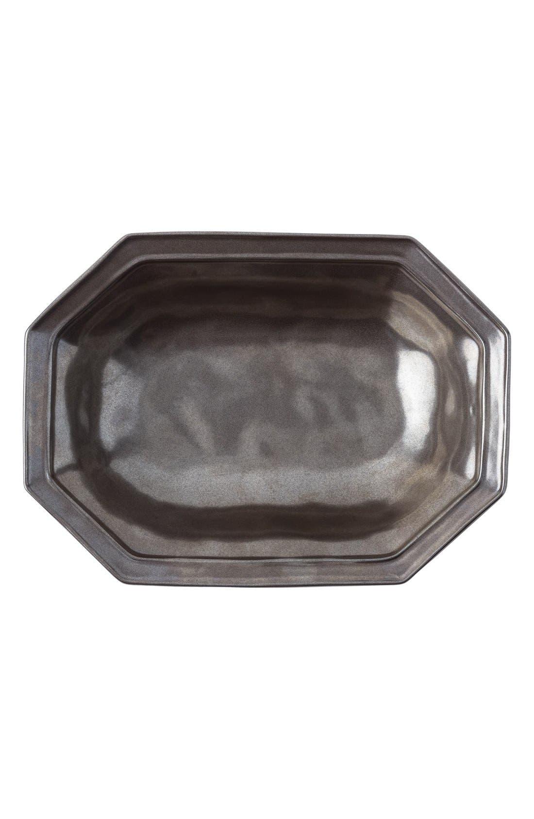 Pewter Stoneware Octagonal Serving Bowl,                         Main,                         color, Pewter