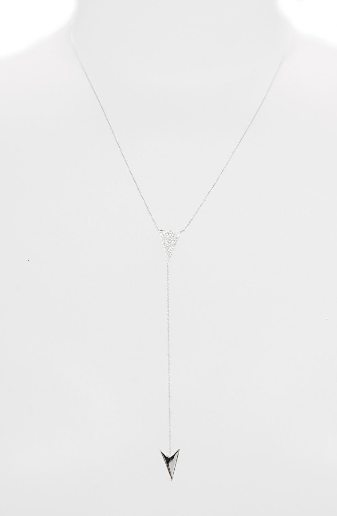 Diamond Y-Necklace,                             Alternate thumbnail 2, color,                             White Gold