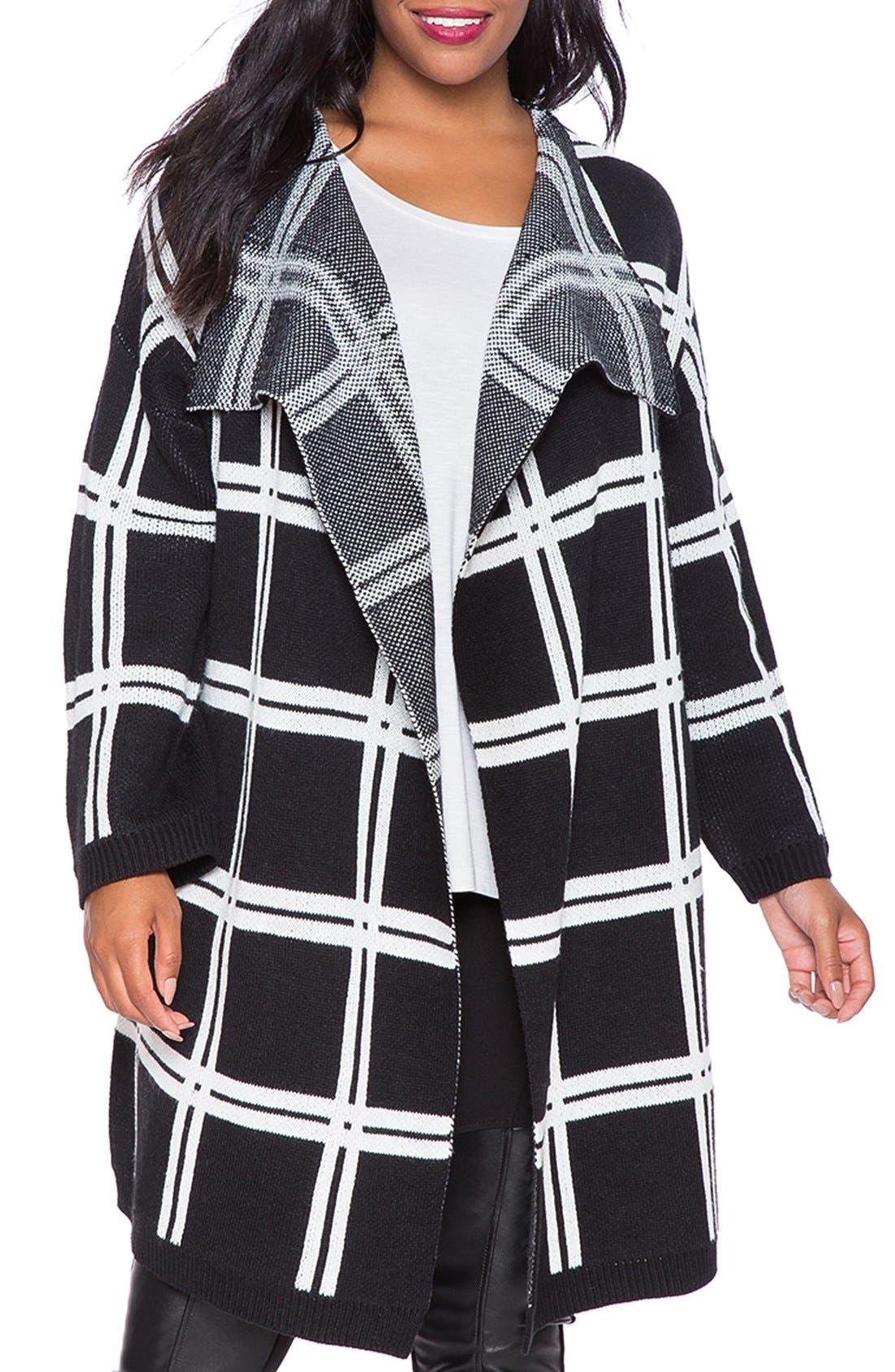 Windowpane Print Oversize Cardigan,                         Main,                         color, Black With White