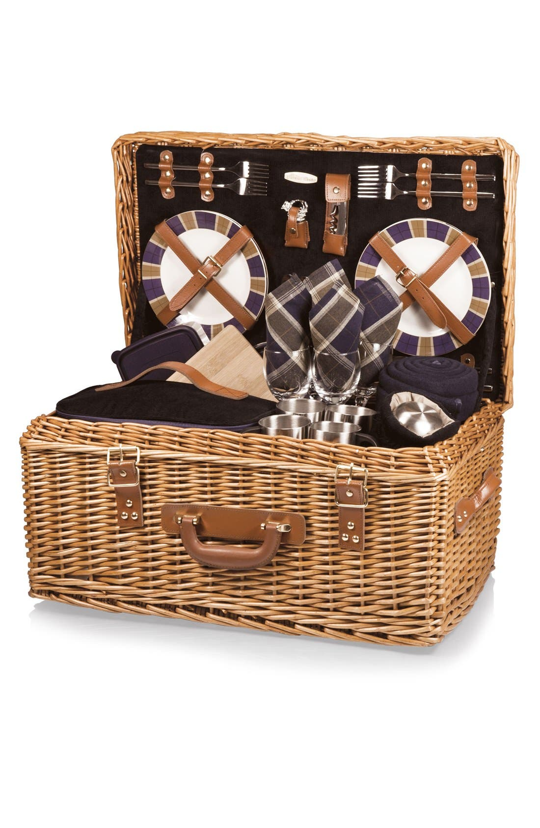 'Windsor' Wicker Picnic Basket,                             Main thumbnail 1, color,                             Blue