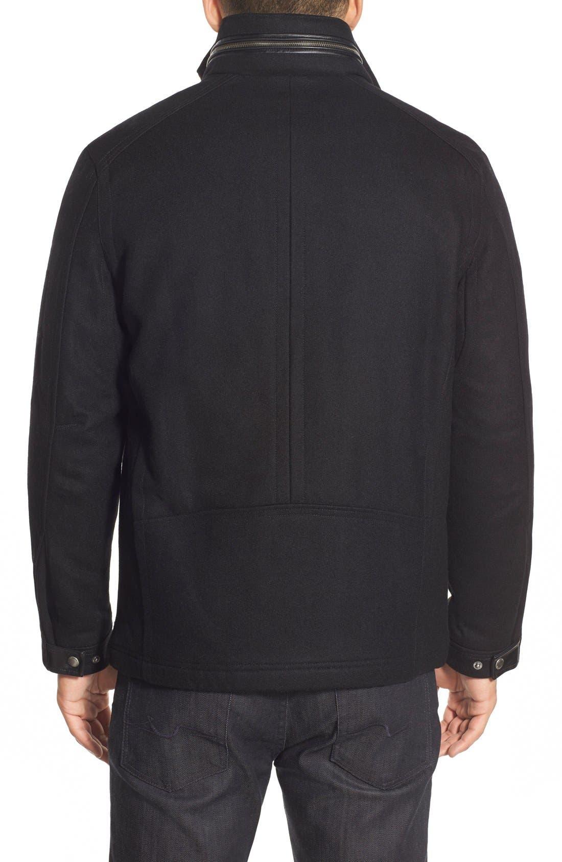 Melton Coat,                             Alternate thumbnail 2, color,                             Black