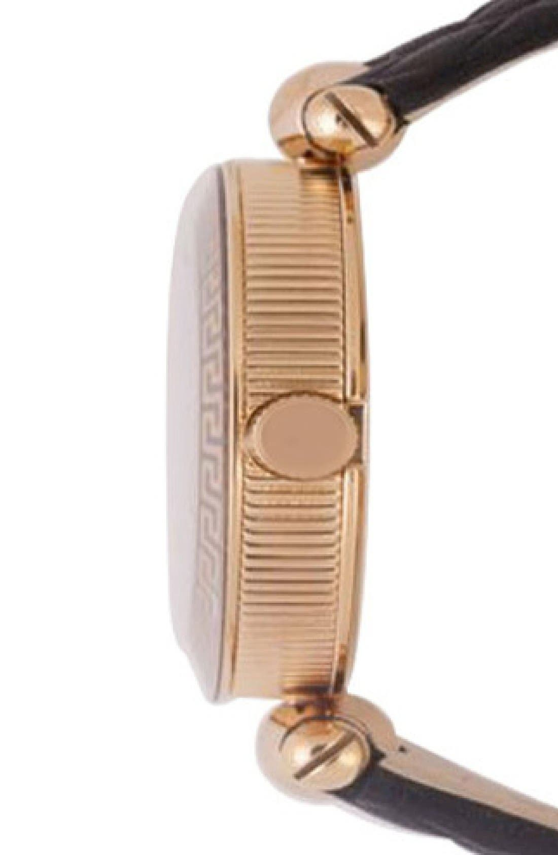 Alternate Image 3  - Versace 'Vanitas' Quilted Round Leather Strap Watch, 30mm