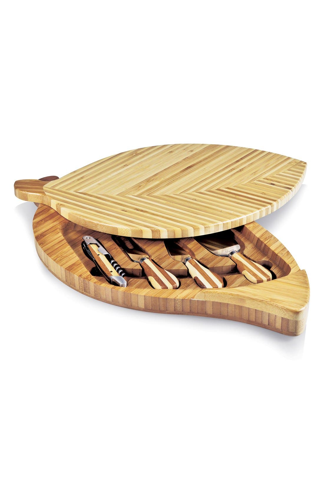 'Leaf' Cutting Board & Cheese Tools,                         Main,                         color, Brown