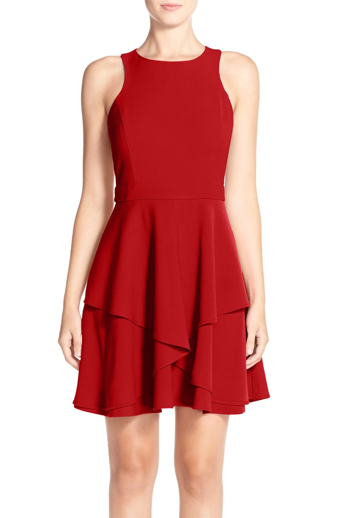 AdelynRae GabardineFit & Flare Dress,                         Main,                         color, Red