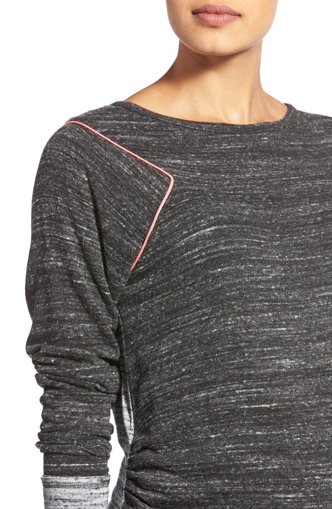 'Raelani' Stretch Jersey Maternity Top,                             Alternate thumbnail 4, color,                             Heather/ Charcoal