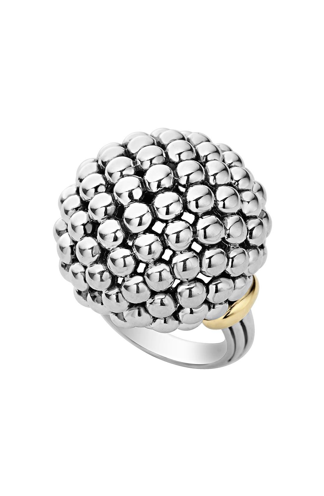 'Caviar Forever' Large Dome Ring,                         Main,                         color, Silver/ Gold