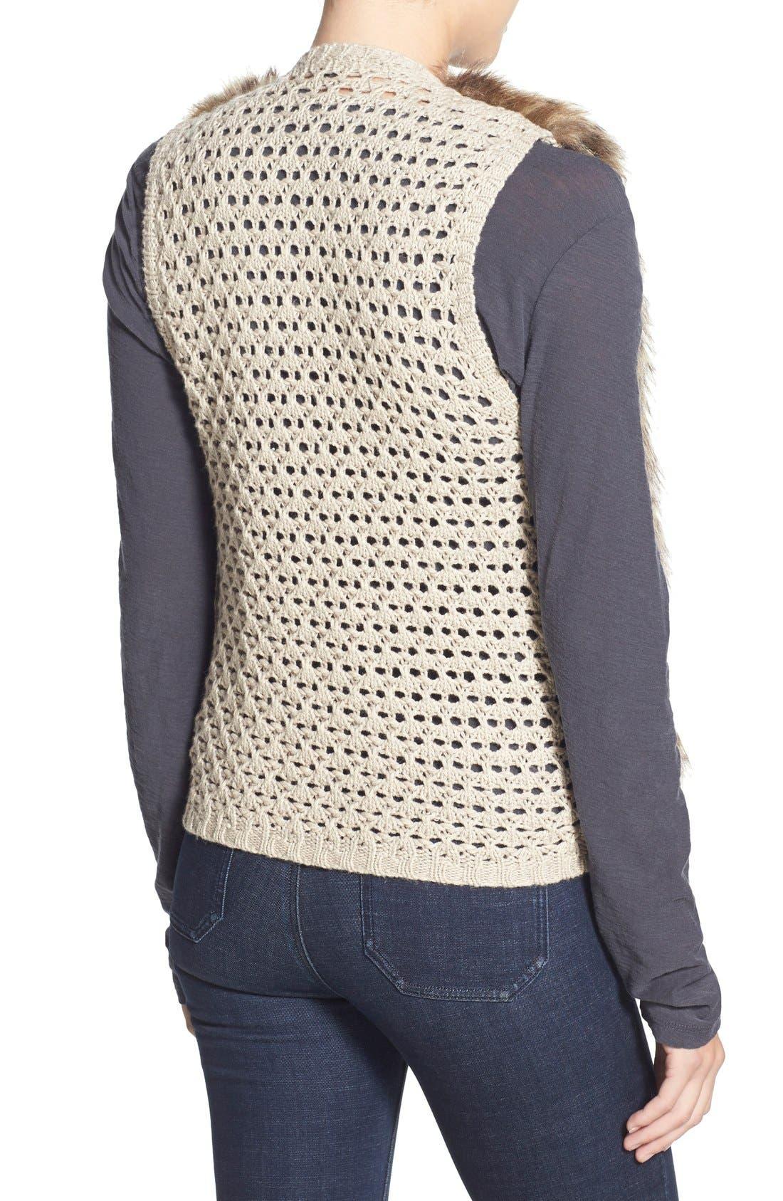 Alternate Image 2  - Ella Moss 'Lyla' Faux Fur Knit Back Vest