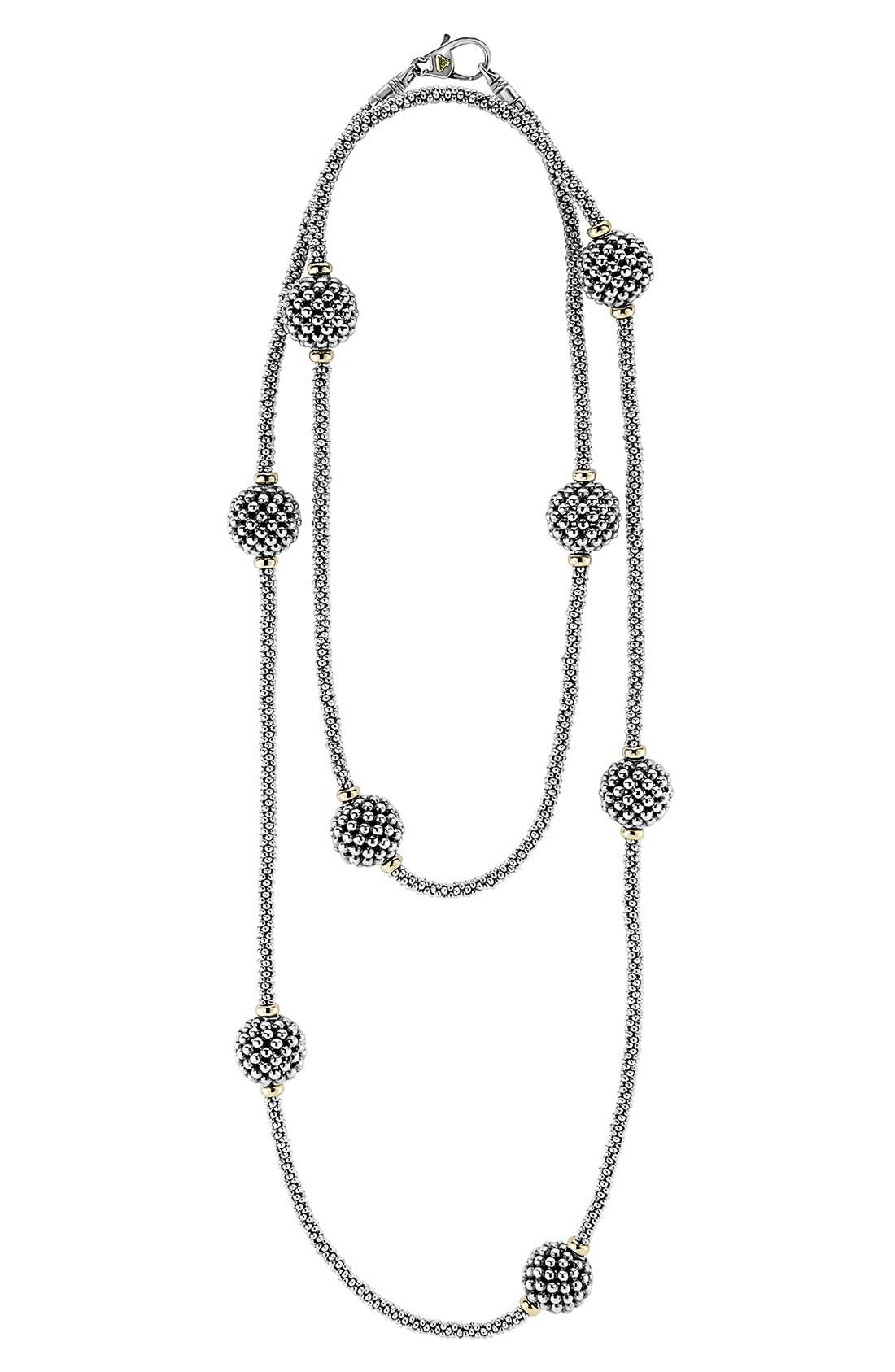 'Caviar Forever' Station Rope Long Necklace,                         Main,                         color, Silver/ Gold