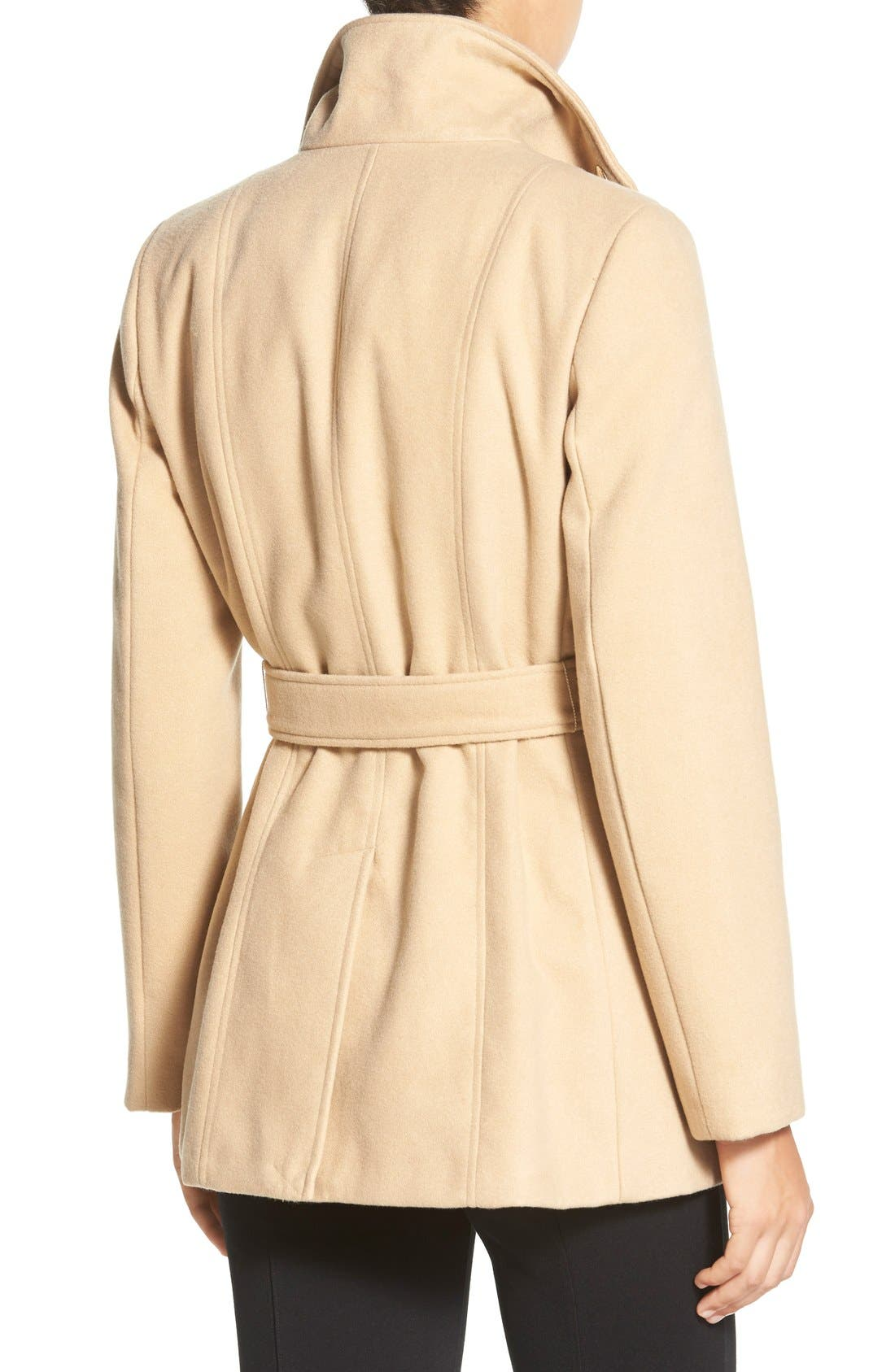 Alternate Image 2  - Calvin Klein Belted Double Breasted Coat (Petite)