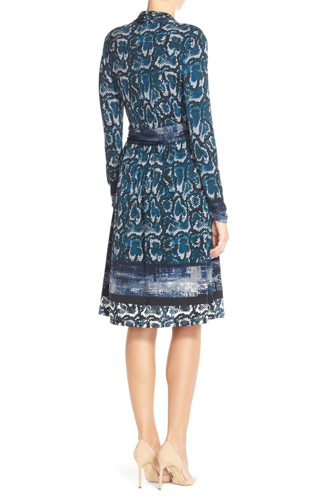 Print Jersey Faux Wrap Dress,                             Alternate thumbnail 2, color,                             Mallard