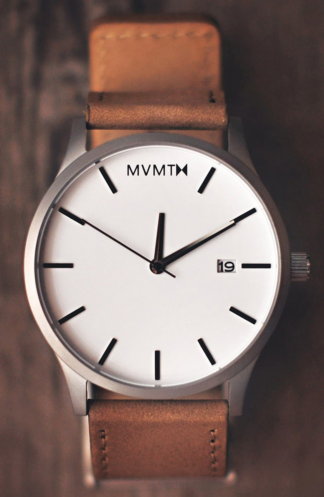 Leather Strap Watch, 45mm,                             Alternate thumbnail 4, color,                             Tan/ Steel