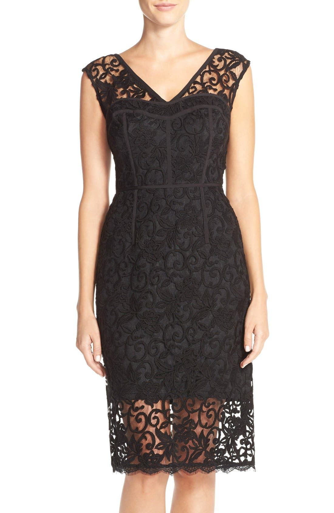 Alternate Image 1 Selected - Adrianna Papell Illusion Lace Sheath Dress