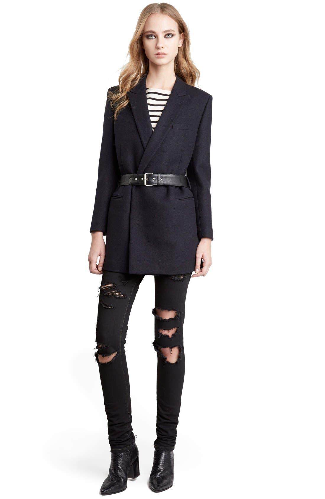 Alternate Image 1 Selected - Saint Laurent Wool Coat with Belt
