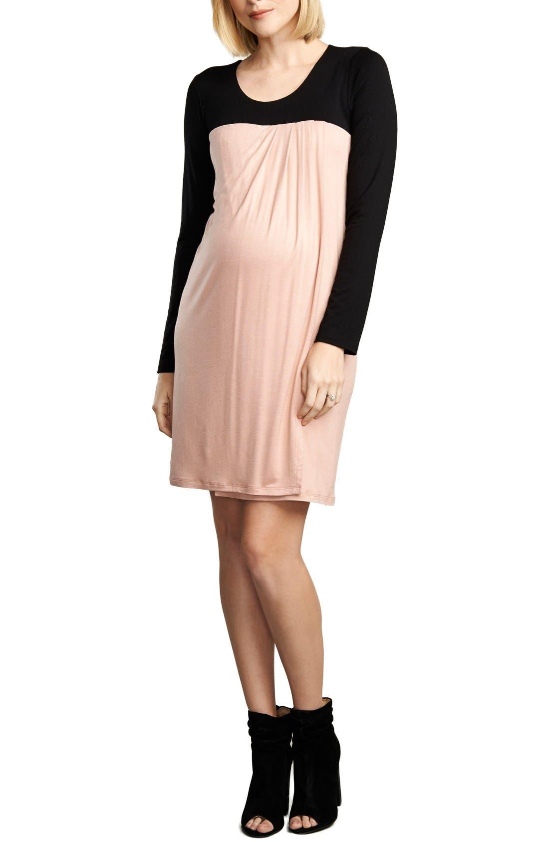 Baby Doll Maternity/Nursing Dress,                         Main,                         color, Black/Rose