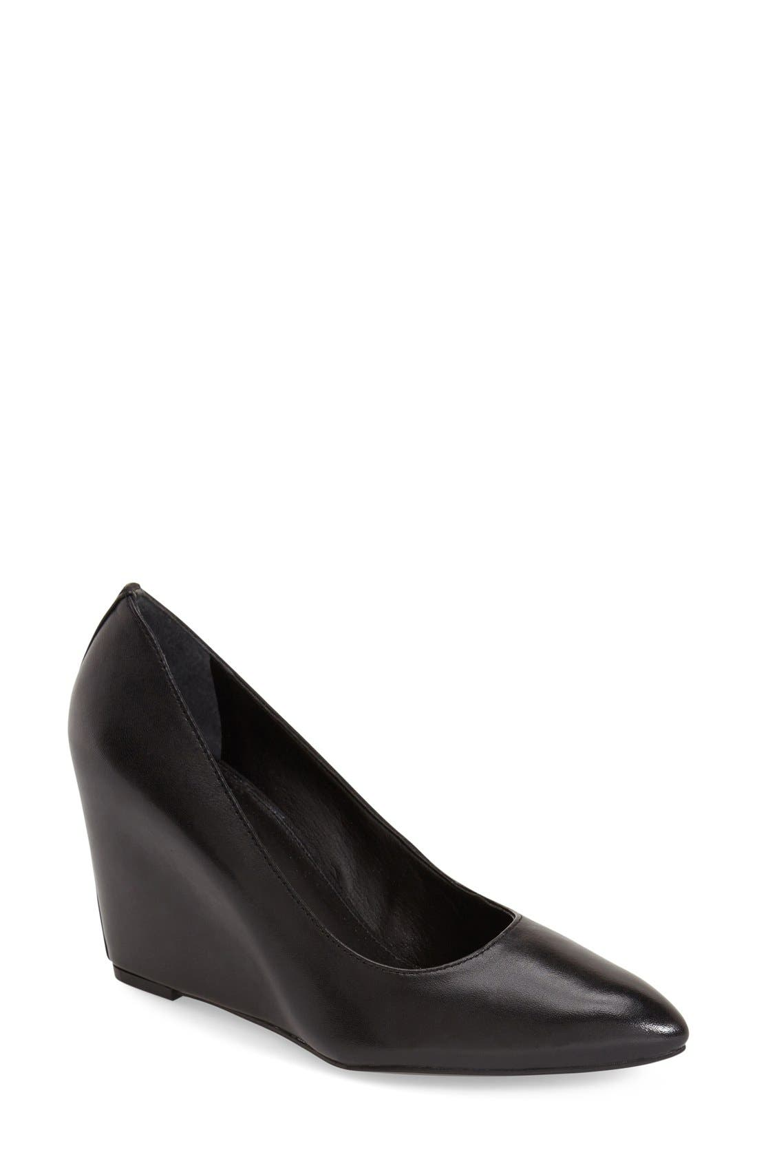'Woodstock' Wedge Pump,                             Main thumbnail 1, color,                             Black Leather