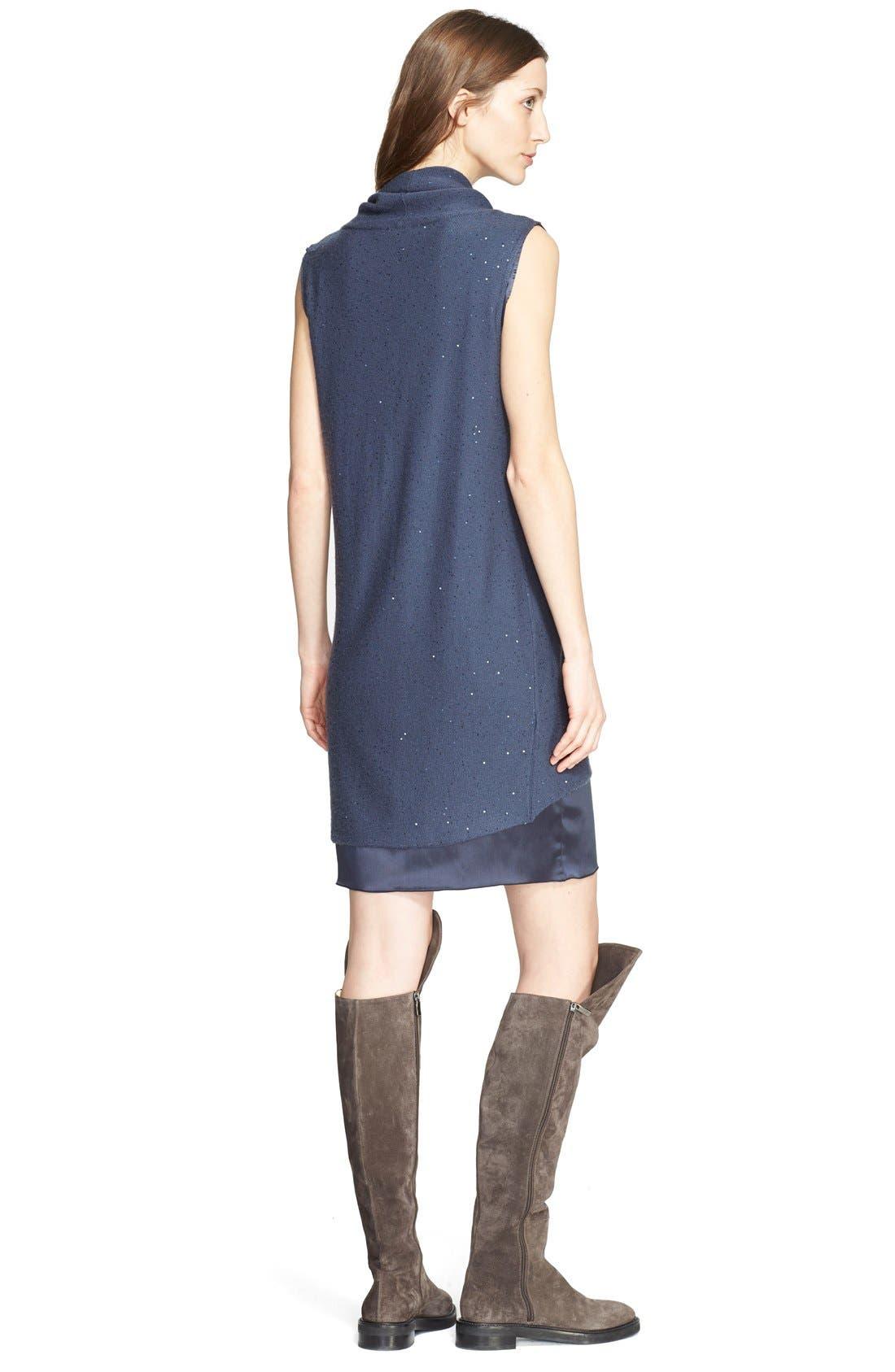 Alternate Image 2  - Fabiana Filippi Embellished Knit Overlay Satin Dress