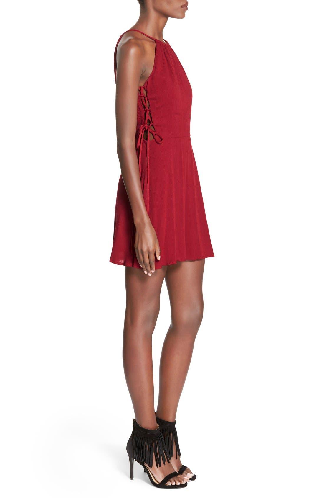 Alternate Image 3  - MissguidedSide Lace-Up Skater Dress