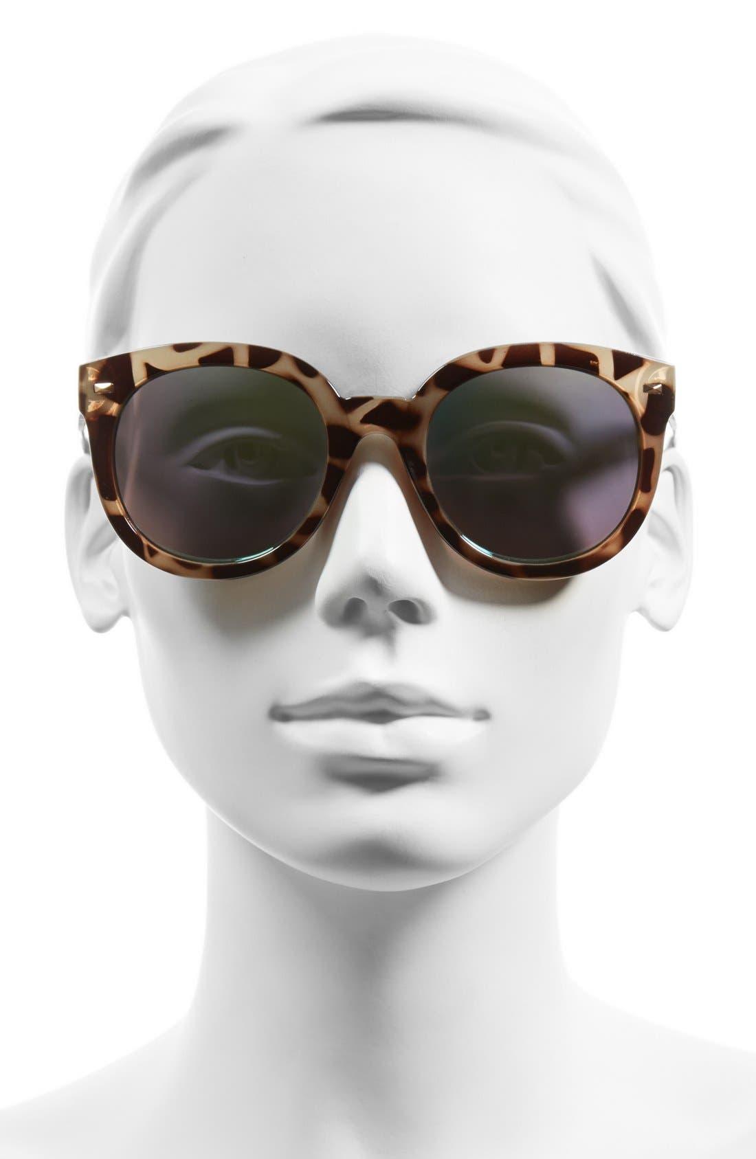 52mm Oversize Mirrored Sunglasses,                             Alternate thumbnail 2, color,                             Green/Grey Tort