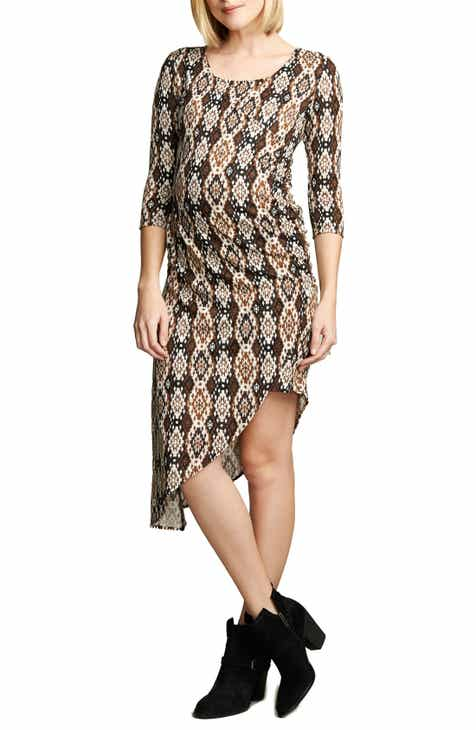 Maternal America Print Asymmetrical Hem Dress by MATERNAL AMERICA