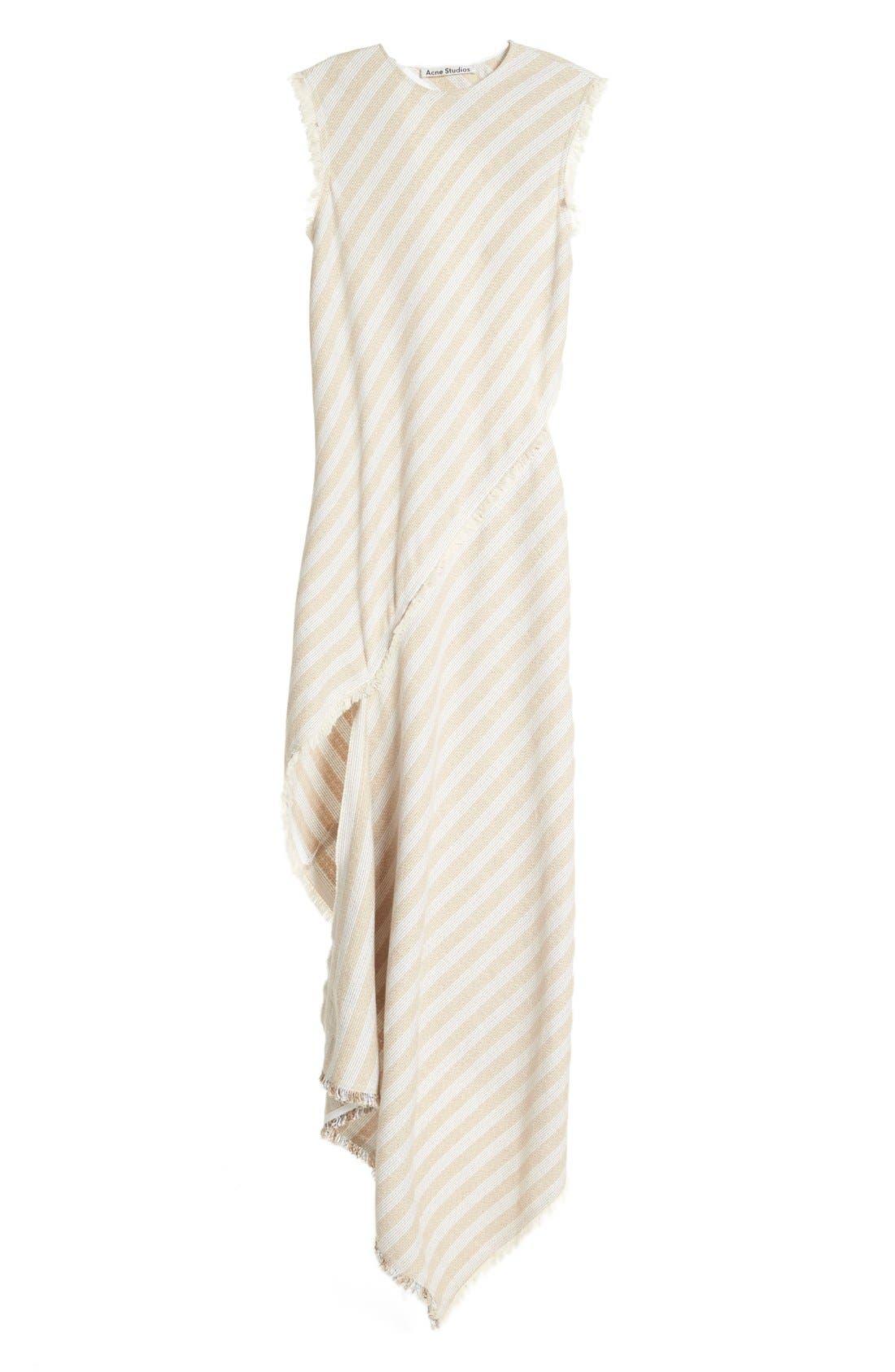 'Cosby' Stripe Sleeveless Dress,                             Alternate thumbnail 4, color,                             Natural Stripe