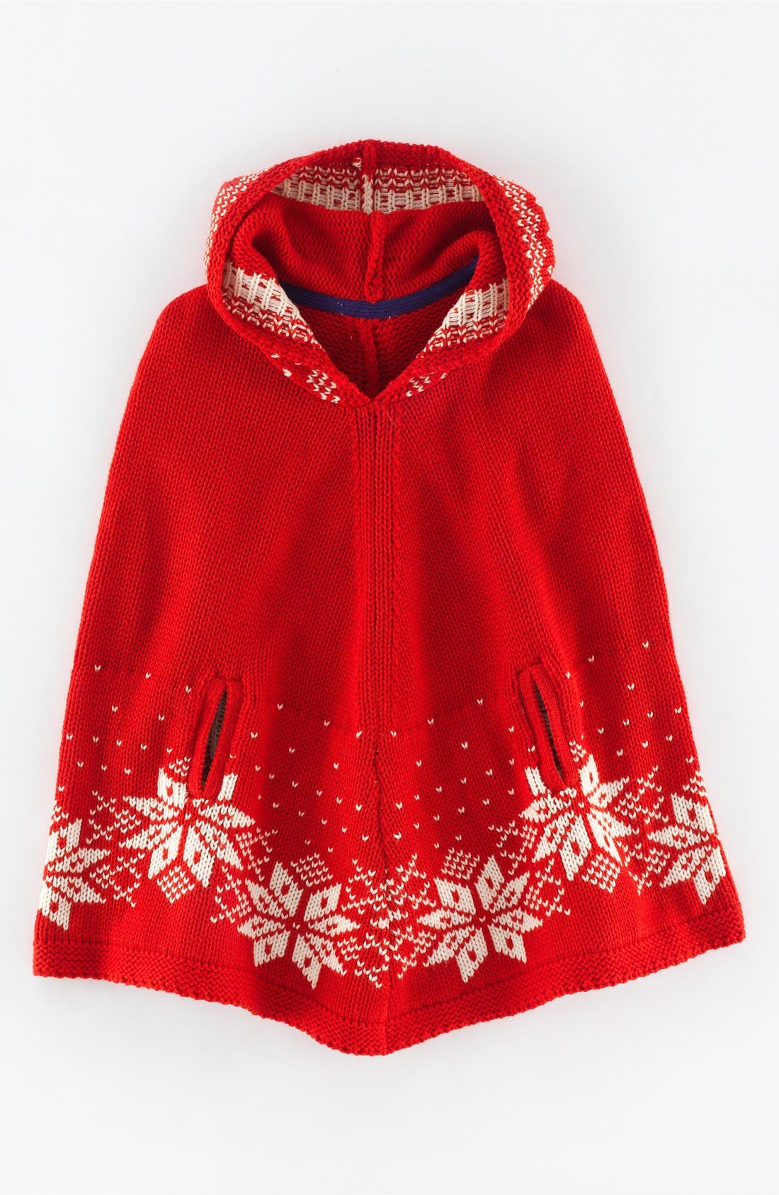 Mini Boden Fair Isle Hooded Knit Poncho (Toddler Girls, Little ...