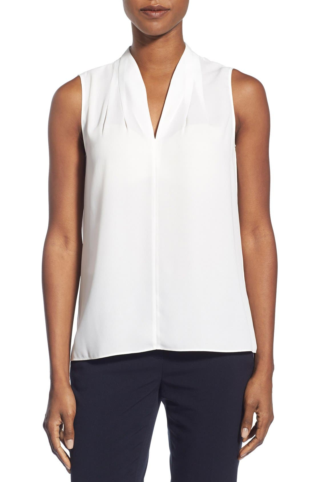 T Tahari 'Edie' Pleat V-Neck Blouse