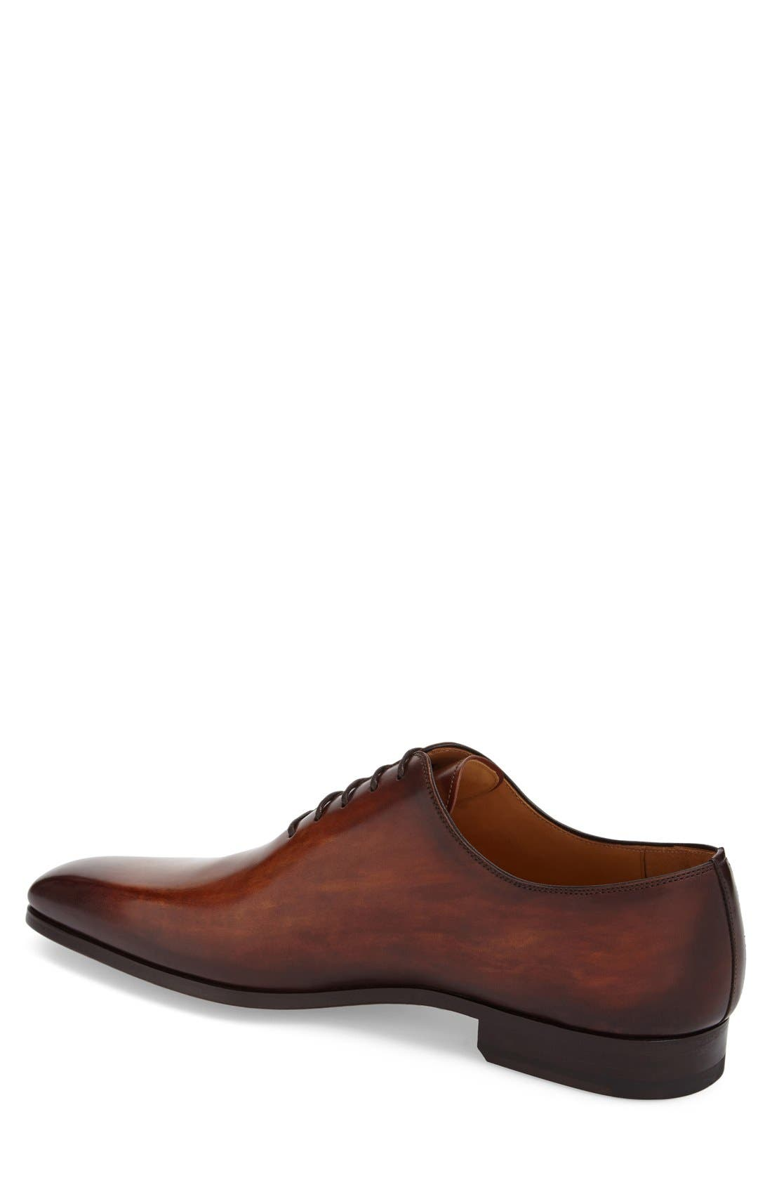'Cruz' Plain Toe Oxford,                             Alternate thumbnail 2, color,                             Cognac Leather