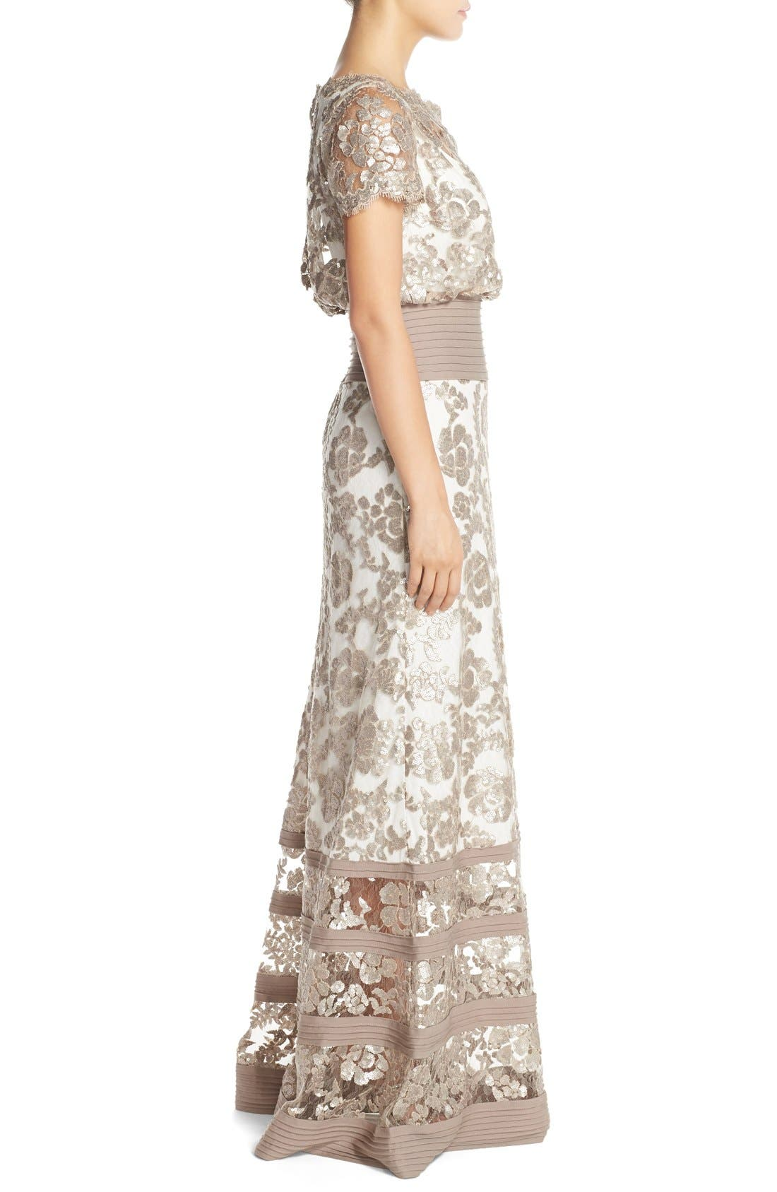 Alternate Image 3  - Tadashi Shoji Sequin Lace Blouson Gown (Regular & Petite)