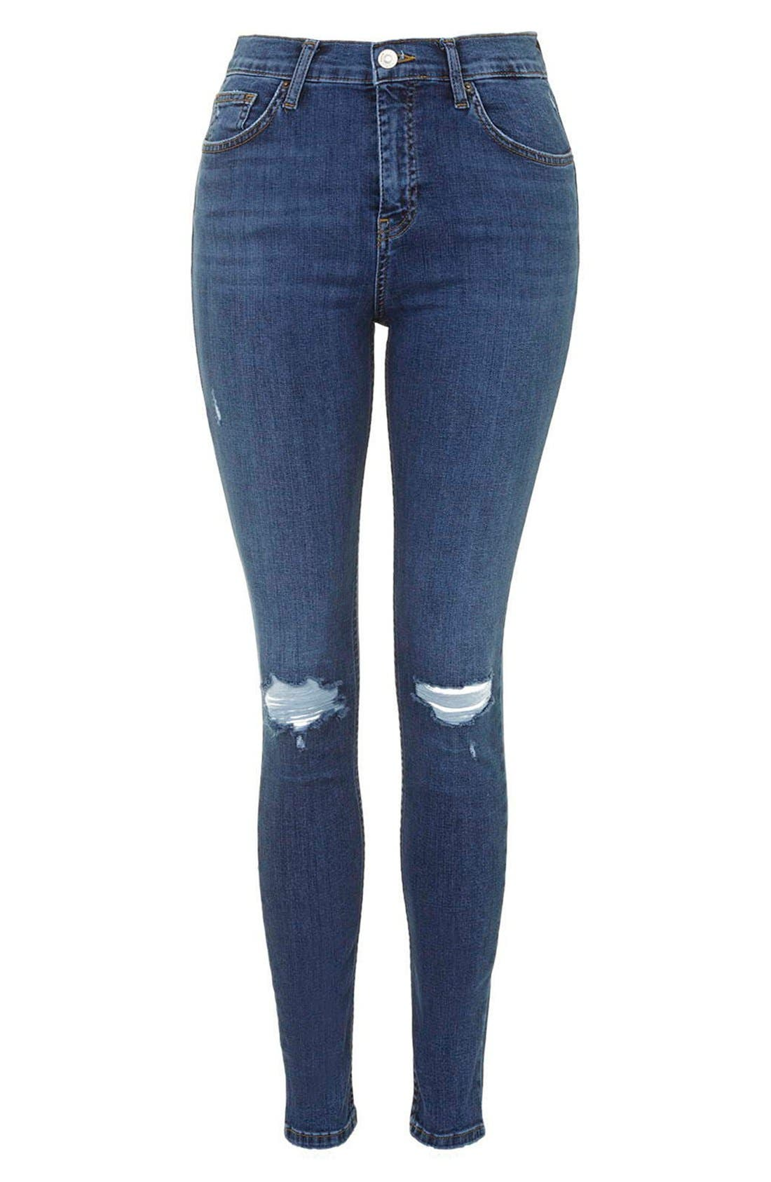 Alternate Image 4  - Topshop Moto 'Jamie' Ripped Ankle Jeans (Mid Denim) (Regular & Short)