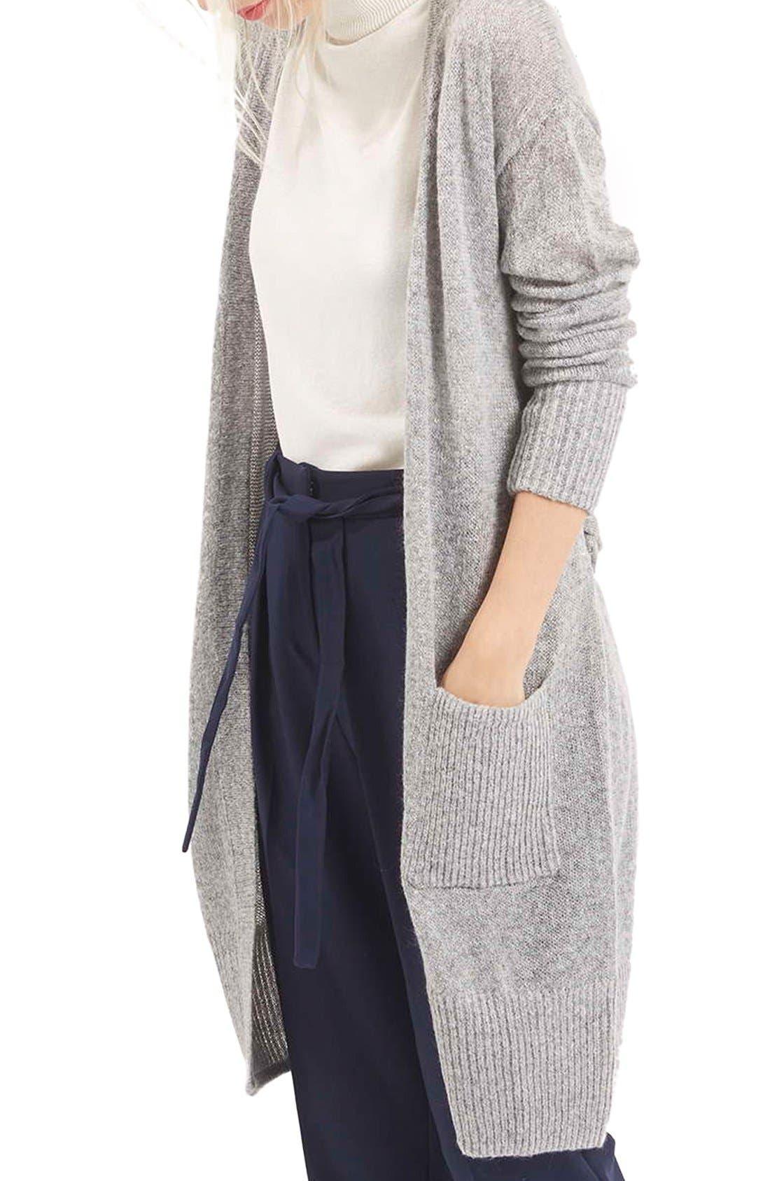 'Lulu' Belted Longline Cardigan,                             Main thumbnail 1, color,                             Light Grey