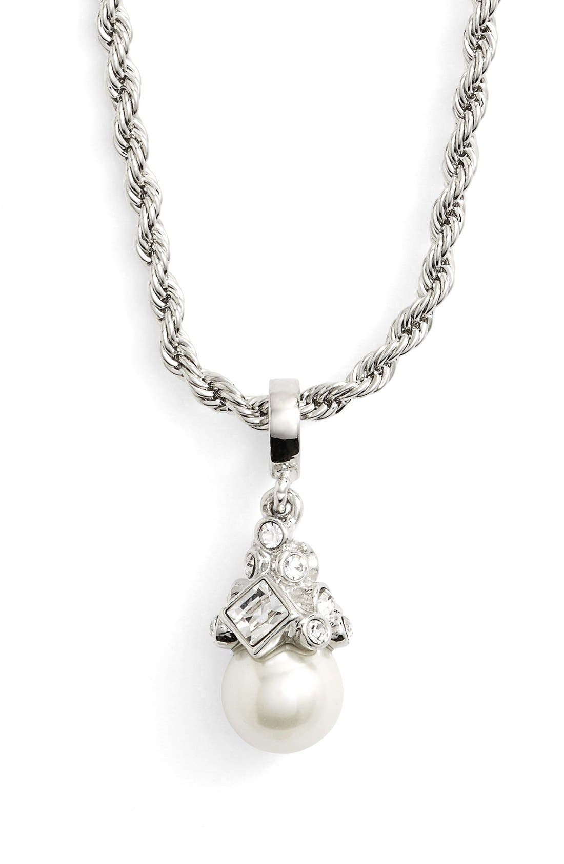 Imitation Pearl Pendant Necklace,                         Main,                         color, Silver