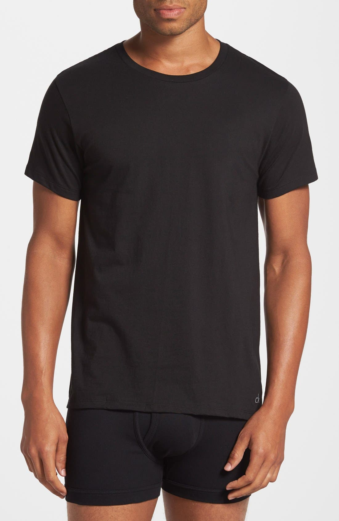 2-Pack Crewneck T-Shirt,                             Alternate thumbnail 2, color,                             Black