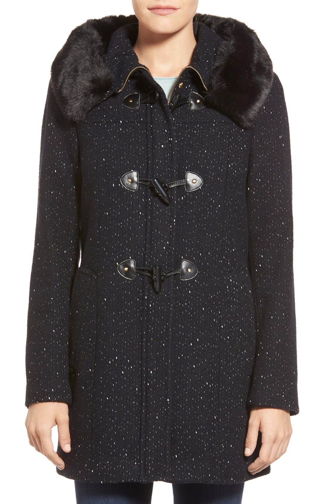 Main Image - Ellen Tracy Toggle Front Tweed Coat with Faux Fur Trim