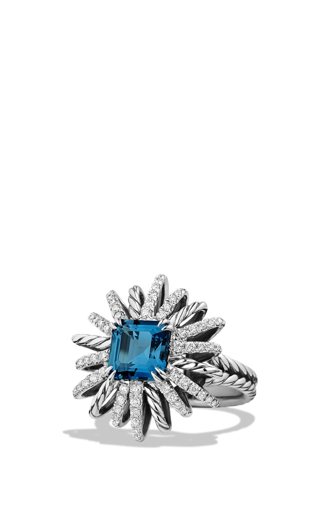 'Starburst' Ring with Diamonds in Silver,                         Main,                         color, Hampton Blue Topaz