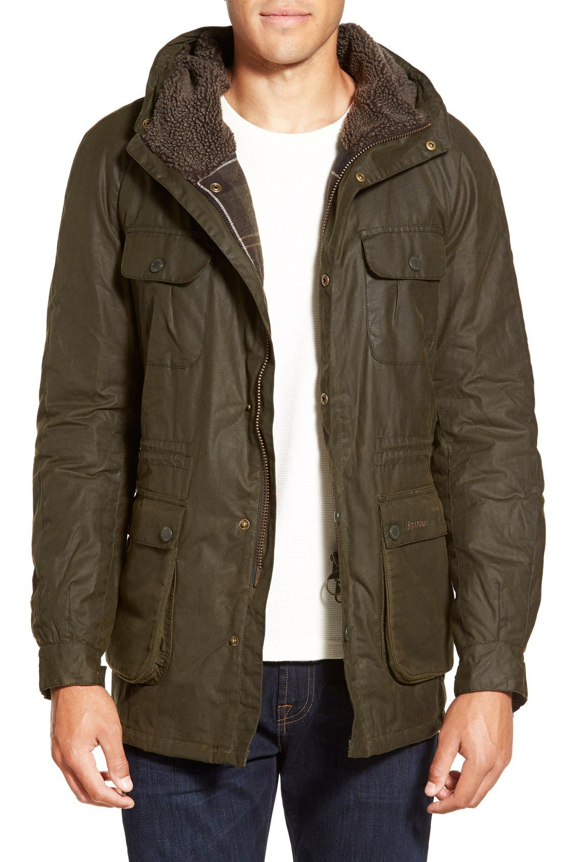 Barbour waxed parka jacket