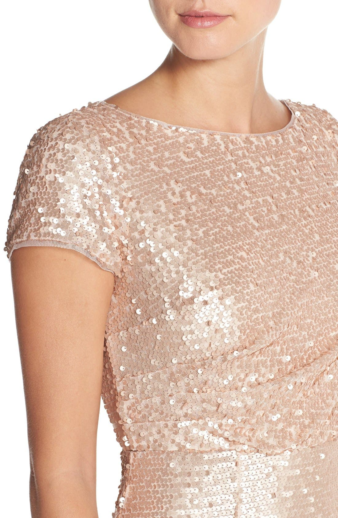 Alternate Image 4  - Adrianna Papell Sequin Mesh A-Line Gown