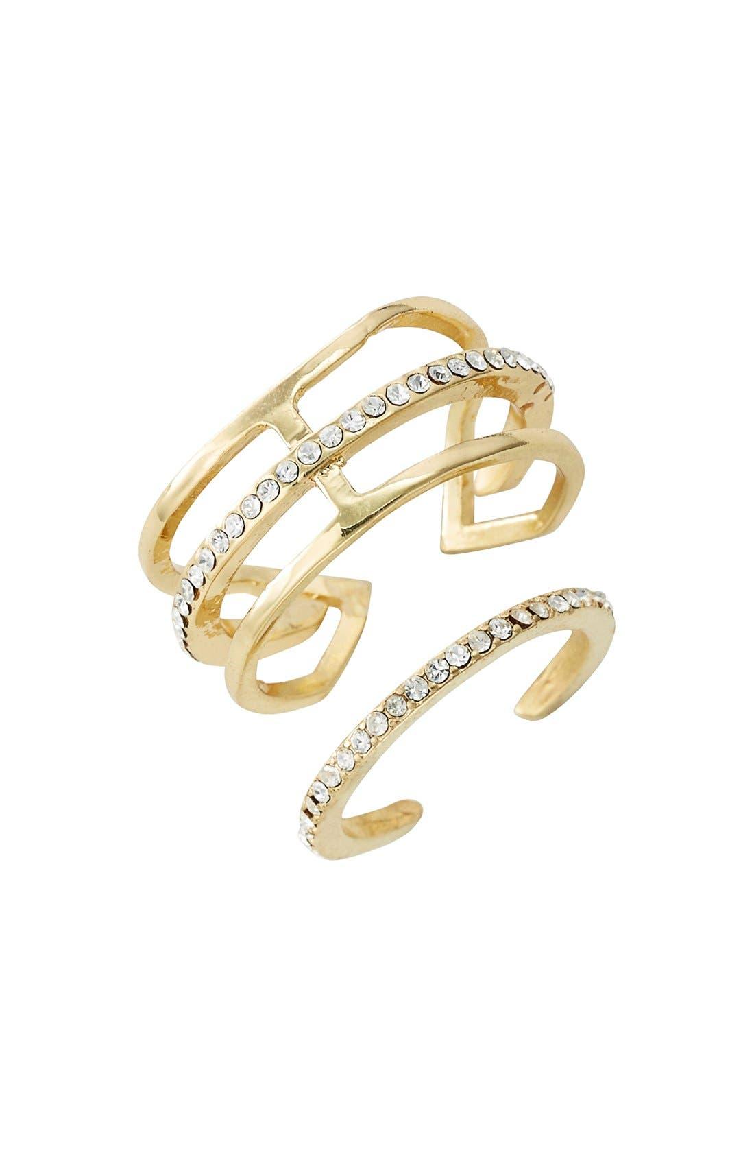 'Arrow' Crystal Rings,                         Main,                         color, Gold/ Clear