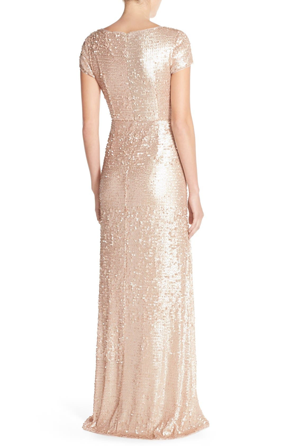 Alternate Image 2  - Adrianna Papell Sequin Mesh A-Line Gown