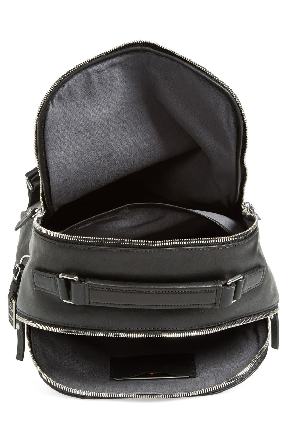 Runwell Leather Laptop Backpack,                             Alternate thumbnail 4, color,                             Black