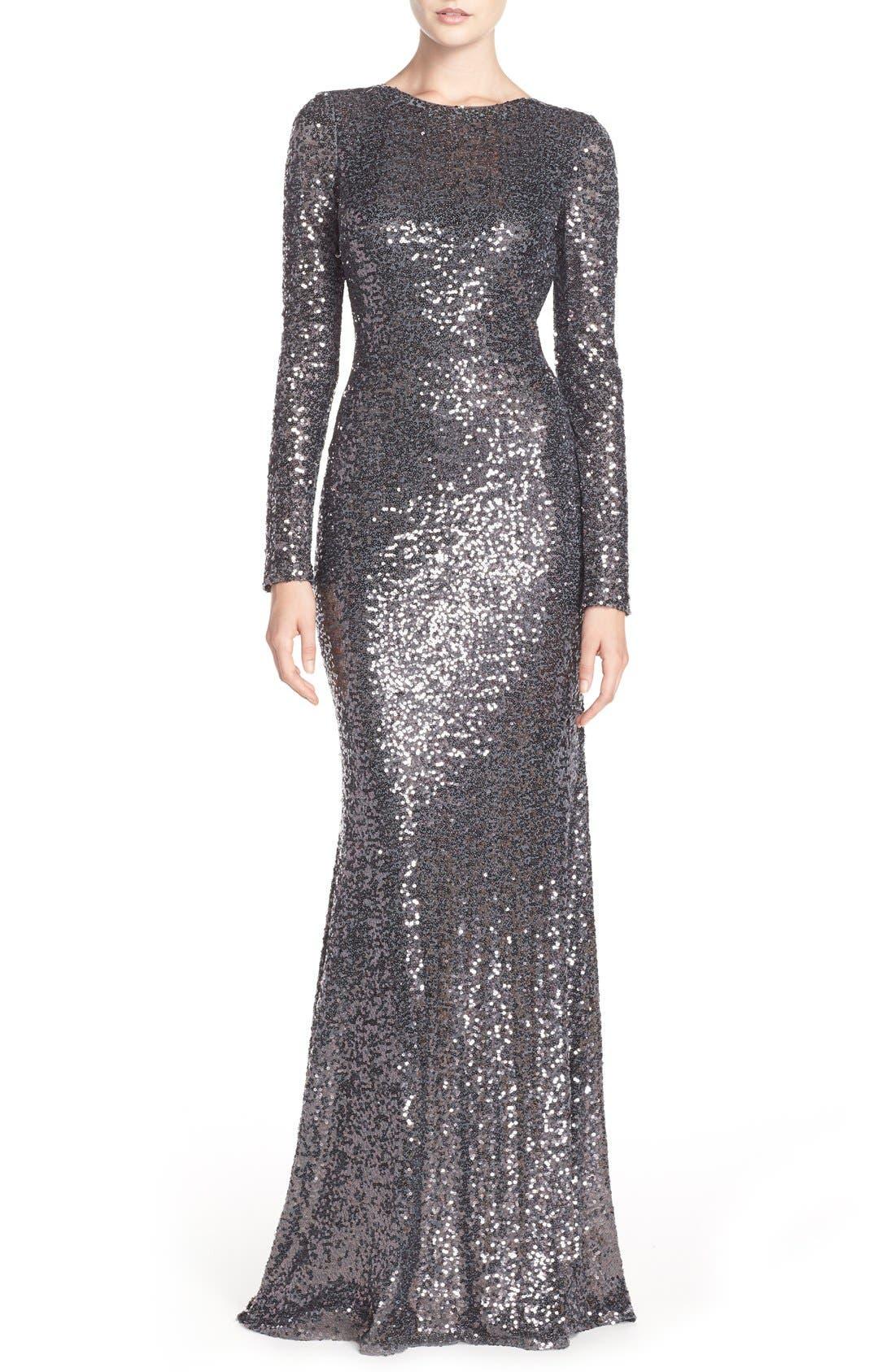 Main Image - Badgley Mischka Cowl Back Sequin Gown
