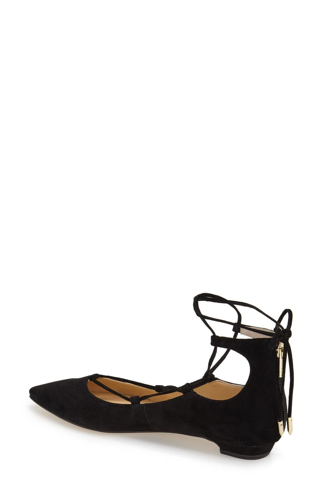 'Tropica' Pointy Toe Ghillie Flat,                             Alternate thumbnail 2, color,                             Black Suede