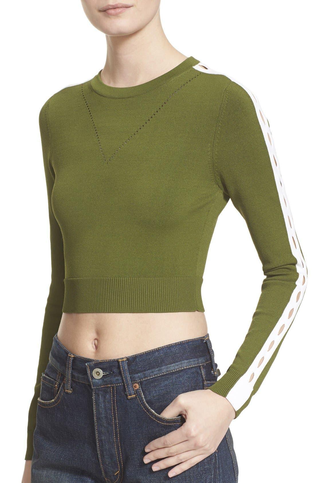 Alternate Image 4  - Opening Ceremony Cutout Long Sleeve Crewneck Crop Top