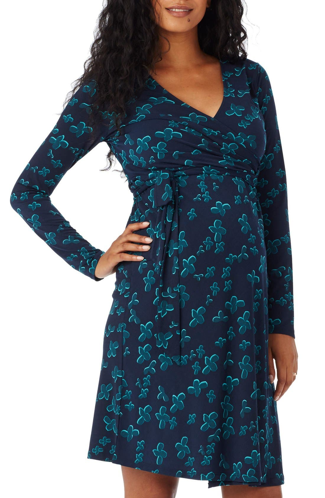 Wrap Maternity Dress,                         Main,                         color, Indigo Multi
