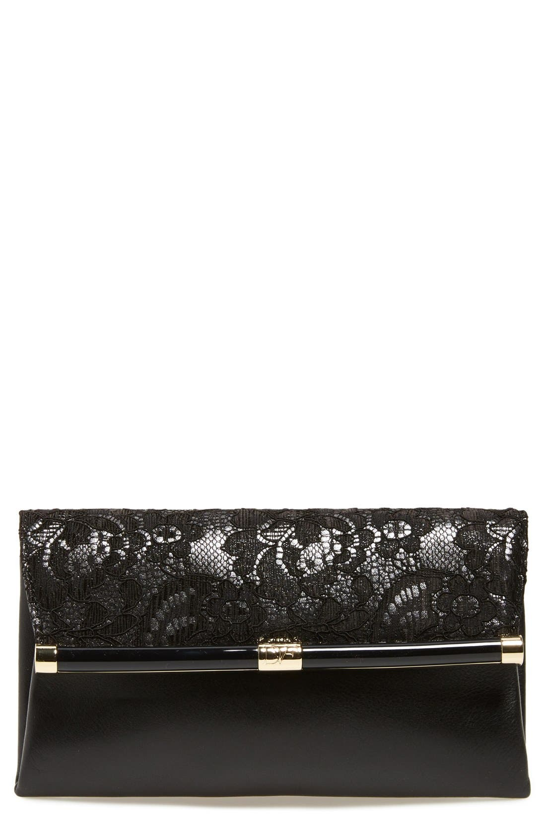 Alternate Image 1 Selected - Diane von Furstenberg '440' Floral Lace Flap Envelope Clutch